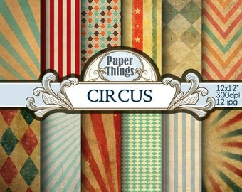 Circus Digital Paper Backgrounds Circus Pattern Instant Download Digital Paper Pack 12 Printable Patterns Instant Download A3