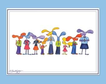 Dog Hanukkah Card - Family Around the Menorah (SINGLE CARD)