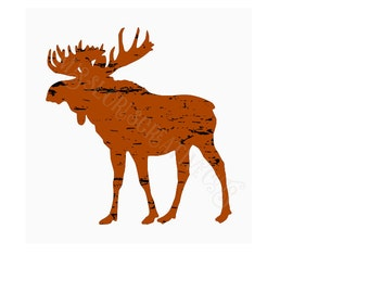 Moose distressed SVG   cut file  t-shirts  animals wild life forestscrapbook vinyl decal wood sign cricut cameo Commercial use
