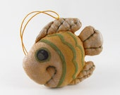 Free shipping. Fish primitive handmade toy for home decor from natural materials (coffee, cotton, acrylics and cinnamon)