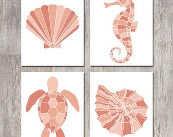 Coral Prints - Coastal Decor - Coastal Wall Art - Seahorse Wall Decor - Sea Turtle Prints - Shell Art - Nautical Nursery - Nautical Decor