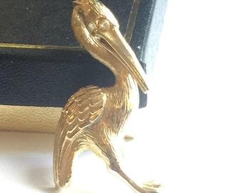 Vintage Crane Pin, Vintage Gerrys Pin Gerrys Crane, Gerrys Brooch Gerrys Bird Brooch, Gerrys Bird, Gerrys Plated Goldtone, Gerrys Rhinestone