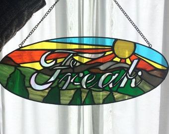 "Stained Glass Mountain Freak Suncatcher 20""X8"""