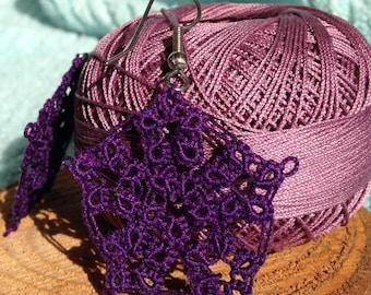 Purple Flowers Tatted Earrings