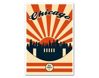 Chicago Illinois Football Poster with a Vintage Look