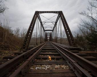 Metal Wall Art Print of bridge in Buffalo Valley