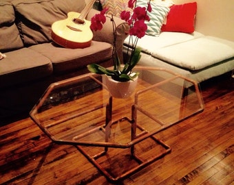 Handcrafted one of a kind copper and glass coffee table
