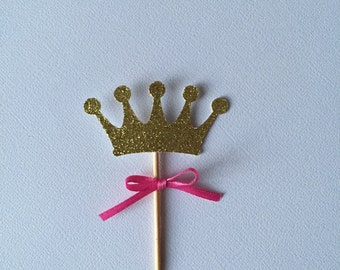 Set of 12 gold crown cupcake toppers with hot pink ribbon, birthday party, baby shower, bridal shower