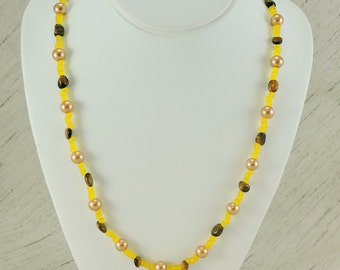 Yellow, Brown and Gold Necklace
