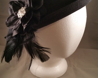 Beautiful Black Hat with Embellishment