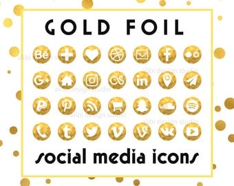 Social Media Icons, Gold Foil Icons, Gold Buttons, Website Icons, Blog Icons, Business Card Icons, Social Media Button, Branding Template