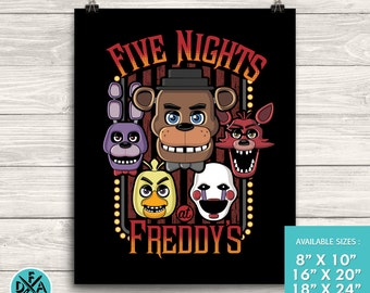"New Five Nights At Freddy's Poster Art Print Matte Finish All Sizes 18""X24"""
