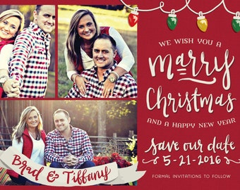 Custom Christmas Card Save the Date (up to 4 photos)