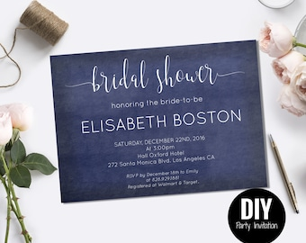 Navy blue wedding bridal shower invitation with modern calligraphy on navy blue chalkboard for unique bridal shower invitations - #DPI1234