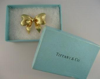 Tiffany & Co. Italy 18K Yellow Gold Gift Bow Brooch