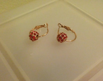 Red and Gold Ball Hoop Earrings
