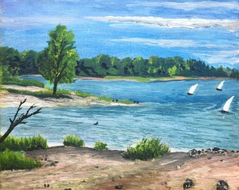 Möhnesee Segelboote, Acrylmalerei auf Leinwand