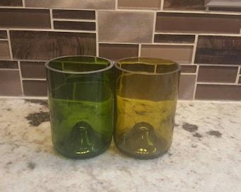 Upcycled Wine Bottle Tumblers. Set of 2