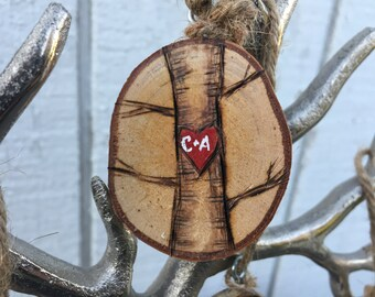 Wood Heart Ornament with Initials, Personalize Christmas Ornament, Rustic Ornament Wood, wood slice ornament, Tree Slice Ornament,Wood Heart