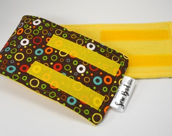Male Dog Belly band - dog diaper - potty training aid - house breaking - Multi color circles w/yellow or orange fleece - READY TO SHIP