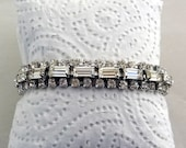 KRAMER OF NY Rhinestone Bracelet, Opulent Crystal Clear Bracelet from the 1950's~Gorgeous Gift, Excellent Condition!