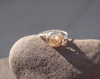 Pastel Pink Wire-Wrapped Ring