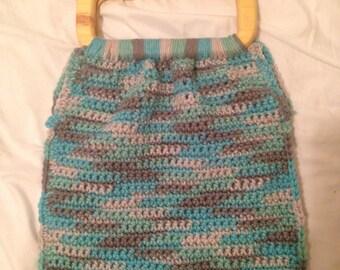Multi colored crocheted purse