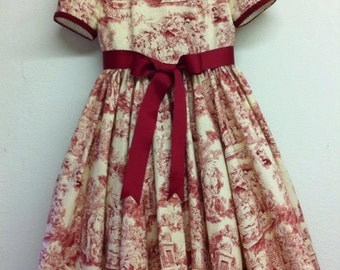 Christmas Toile Princess Dress