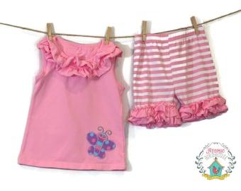 Girls Ruffle Shorts Set Size 6 - Summer Clothing Girls - Boutique Shorts Set - Ruffle Shorts - Butterfly Applique - READY TO SHIP