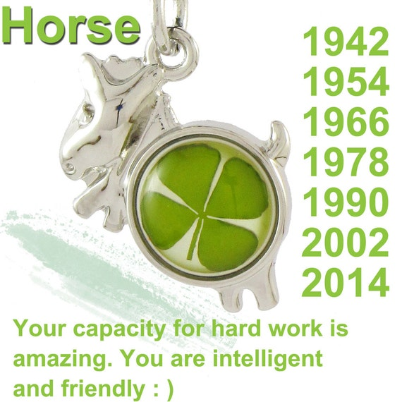 real four leaf clover amber lucky horse zodiac birth year of 1942 1954 1966 1978 1990 2002 2014. Black Bedroom Furniture Sets. Home Design Ideas