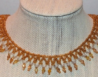 Woven Beaded Necklace Gold and Silver