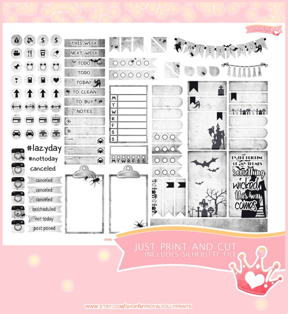 Halloween Ghost | Printable Planner Stickers | Happy Planner | Instant Digital Download with Silhouette file