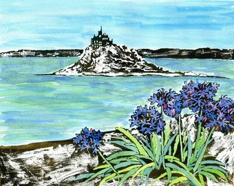 St Michael's Mount Agapanthus flower art print from original watercolour and acrylic painting,Cornwall,blue flowers,sea,mounts bay,cheerful