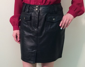 1990s Leather Skirt, Vintage Black Leather Skirt, Short Skirt