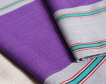 ON SALE Grey Purple Stripe Cotton Fabric by 1/4 Metre, Woven Fabric, Handwoven Fabric Nepal, Stripe Fabric, Reversible, Yarn Dyed Cotton