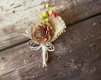 Autumn Wedding Boutonniere, Rustic Buttonhole, Boho Lapel Pin, Woodland Wedding Boutonniere, Fall Wedding Lapel Pin, Cedar Rose Boutonniere