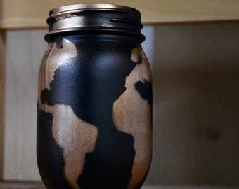 World Map Mason Jar Black & Gold Continents