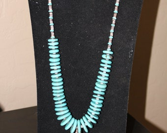 Native American Sterling Silver Necklace with Turquoise Stones