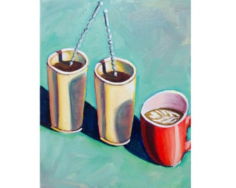 "A Latte Coffee - Fine Art Giclee PRINT 8x10"" [Coffeeshop Wall Art, Barista, Latte Art]"