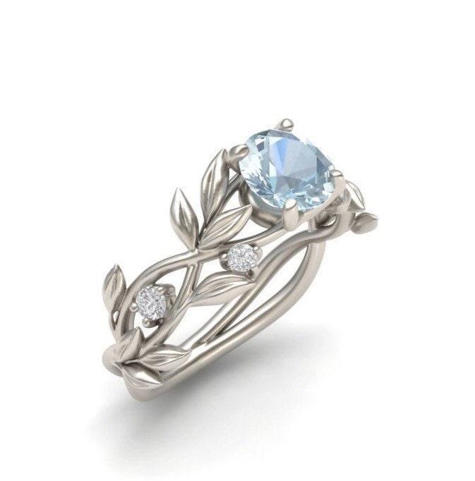 Leaf Engagement ring White Gold 14kAquamarine Engagement