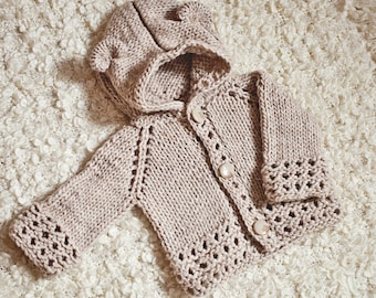 Knitting Pattern (pdf file) Instant Download - Knit Bear Cub Hooded Cardigan (sizes up to 10 years)