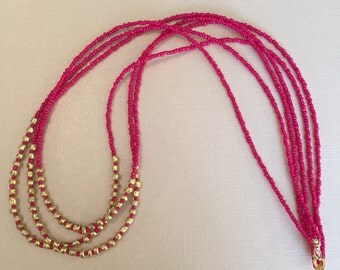 Pink Seed Bead Multi-Strand Necklace
