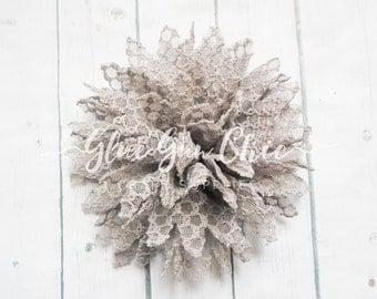 Grey chiffon flower - gray flower - headband flower - lace flower