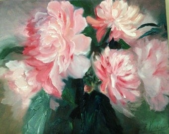 Pink Flowers. Original oil painting.