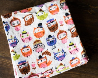 Baby Girl Receiving Blanket, Extra Large Receiving Blanket, Owl Receiving Blanket