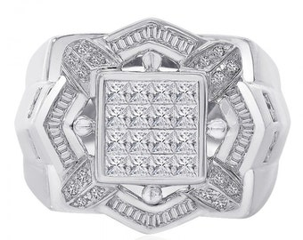 2.00 Carat Baguette, Princess, Pave Round Cut Diamonds Mens Ring 14K White Gold