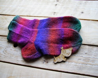 Hand knitted women wool Socks colorful stripes