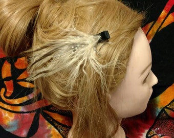 Handmade natural feather hair clip