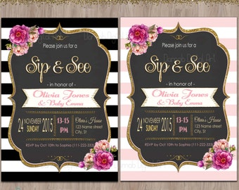 Sip and See invitation, sip & see invitation, meet the baby invitation, sip n see invitations, sip and see invite, black pink gold glitter