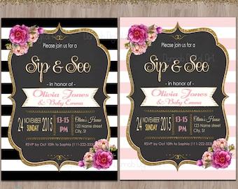 Sip and See invitation, sip & see invitation, meet the baby invitation, sip n see invitations, sip and see invite, black pink gold glitter